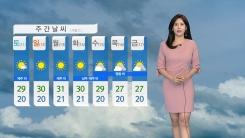 [날씨] 중부 구름 사이 햇살...남부 흐린 하늘