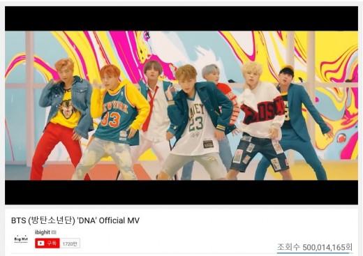 이번에도 기록…방탄소년단, 'DNA' MV 최단 5억뷰