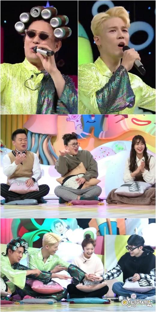 """'안녕하세요' 노라조 음료캔 스타일링 시선칼당 """"신문고 콘셉트"""""""