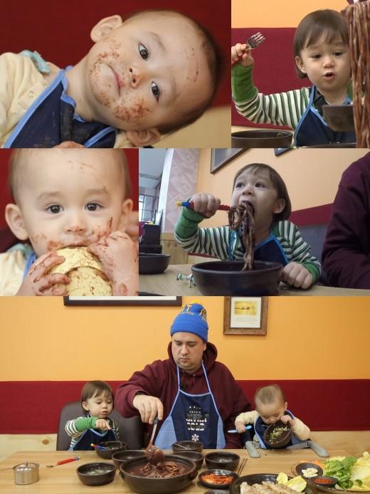 '슈돌' 윌벤져스, 말문 터지는 팥칼국수 먹방 '고급 맛 표현+옹알이'