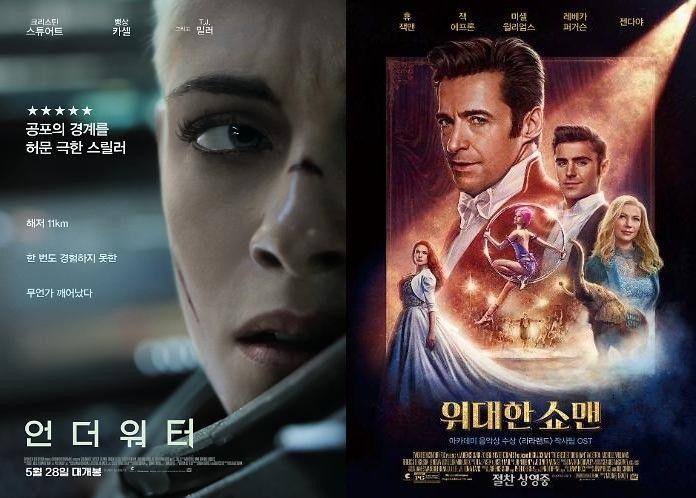 '언더워터' 3일째 박스오피스 1위...'위대한 쇼맨' 2위
