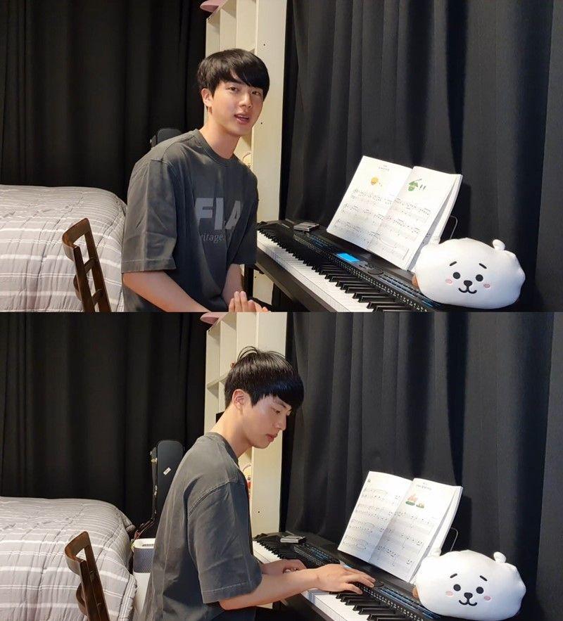 """방탄소년단 진 """"취미로 피아노 시작""""...라이브 연주 공개"""