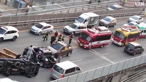 금천고가 트럭사고 사고자 구출함